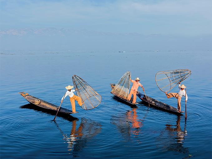 Image Asie Birmanie pecheurs de lac inle