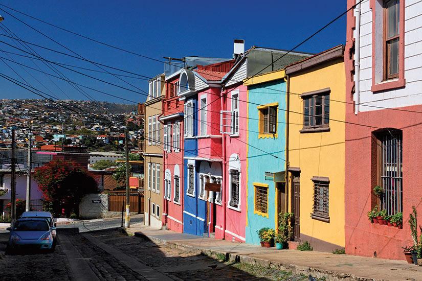 image Chili Valparaiso rue avec maisons colores  it