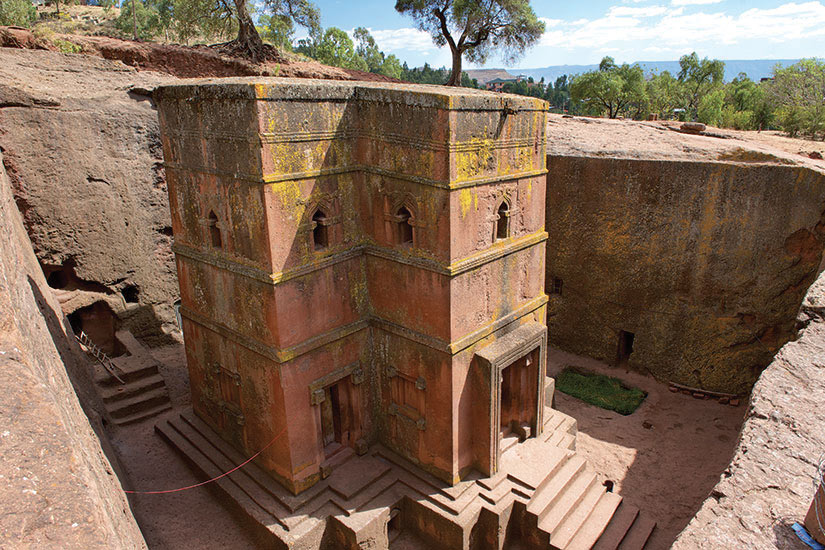 image Ethiopie Lalibela Eglise unique taille dans le roc de Saint George  fo