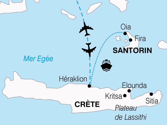 CARTE Grece Douceur Mediterraneennes Crete Santorin  shhiver 110681