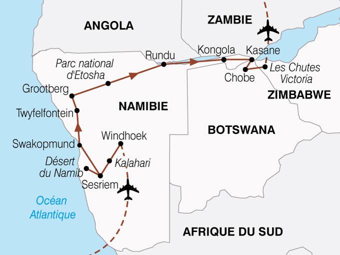 CARTE Namibie Botswana Zimbabwe Periple  shhiver 863502