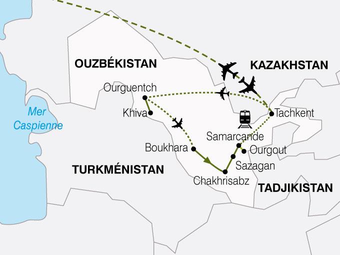 CARTE Ouzbekistan Route Soie  shhiver 681699