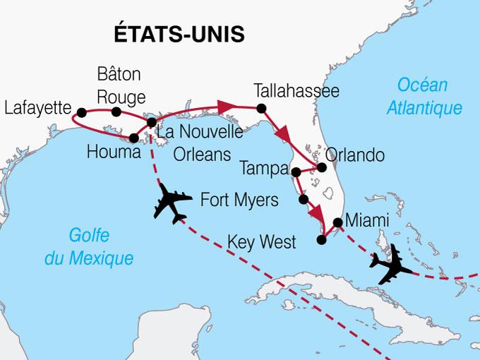 CARTE USA Lousiane Floride  shhiver 257546