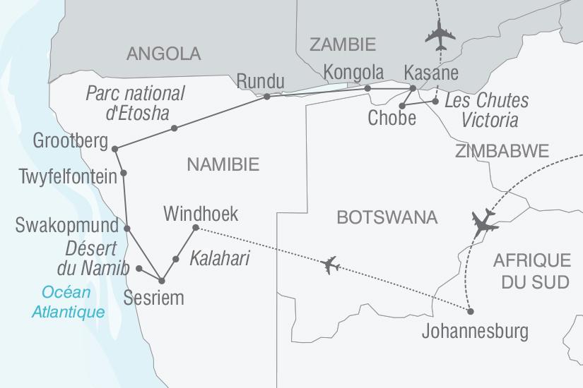 carte Afrique du Sud Botswana Namibie Zimbabwe Immersion au coeur des terres africaines nt 2019_293 185018
