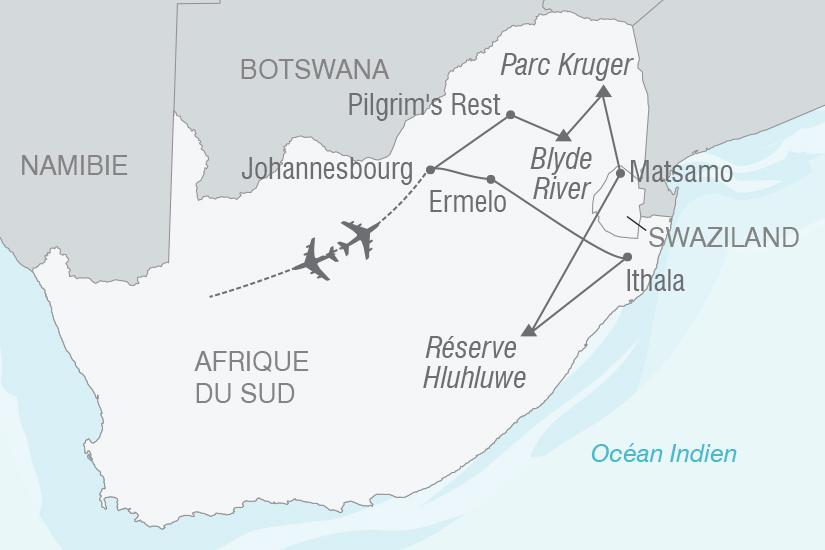 carte Afrique du Sud Safaris et grands espaces sud africains NT19 20_314 779403