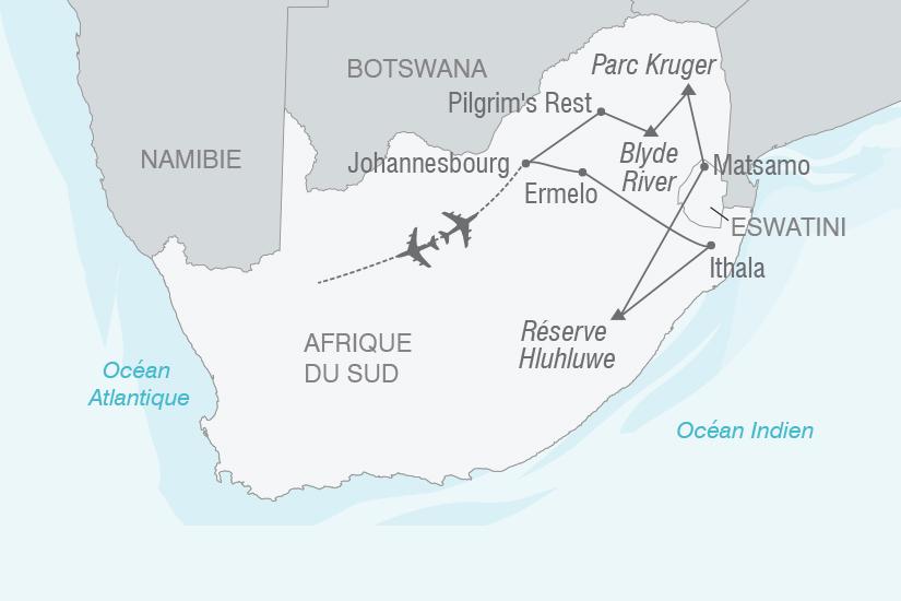 carte Afrique du Sud Safaris et grands espaces sud africains NT20_341 779403