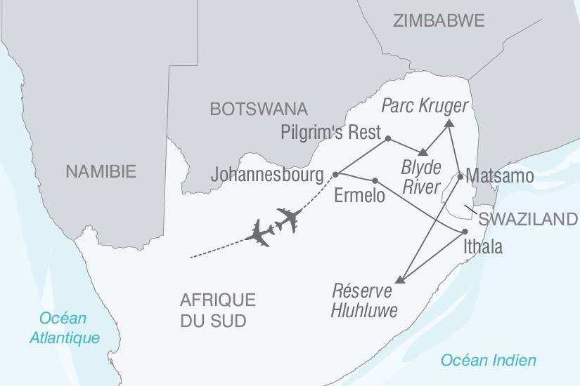carte Afrique du Sud Safaris et grands espaces sud africains nt 2019_293 471466