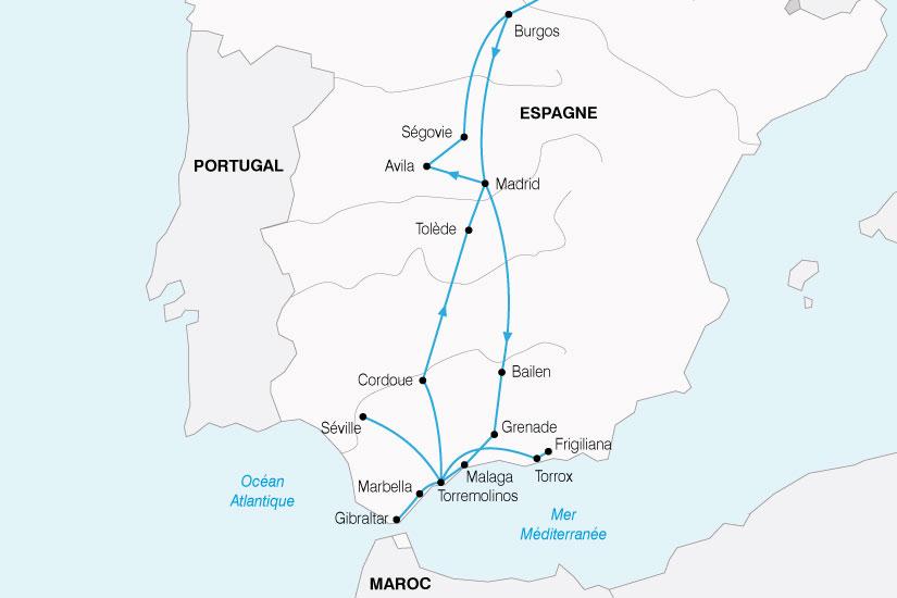 carte Espagne Andalousie Castille 308089