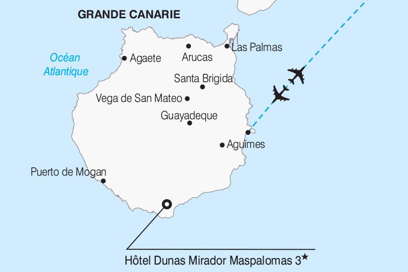 Carte Espagne Avec Hotel.Canaries Grande Canarie Espagne Circuit Gran Canaria Ile Paradisiaque