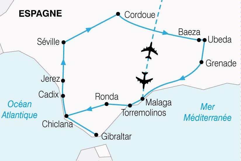 carte Espagne Grand Tour Andalousie 103598