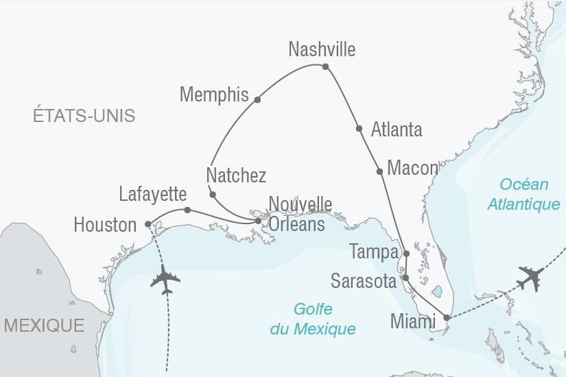 carte Etats Unis De Houston a Miami NT19 20_314 411436