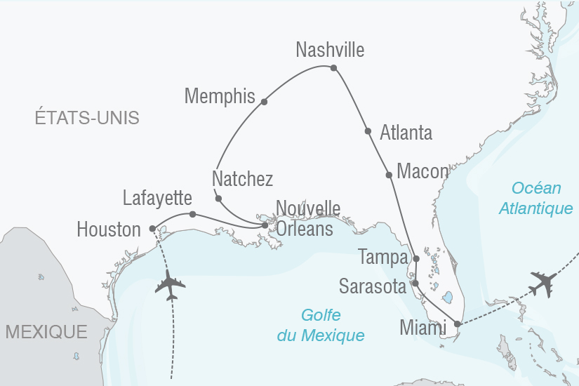 carte Etats Unis De Houston a Miami par le Tennessee et la Georgie NT20_341 540788