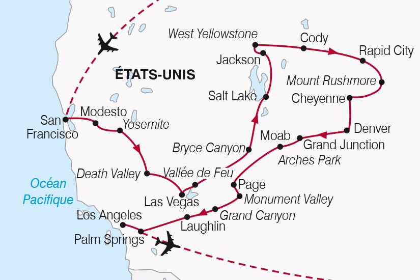 carte Etats Unis Splendeurs de l Ouest Americain SH19 20_319 245933
