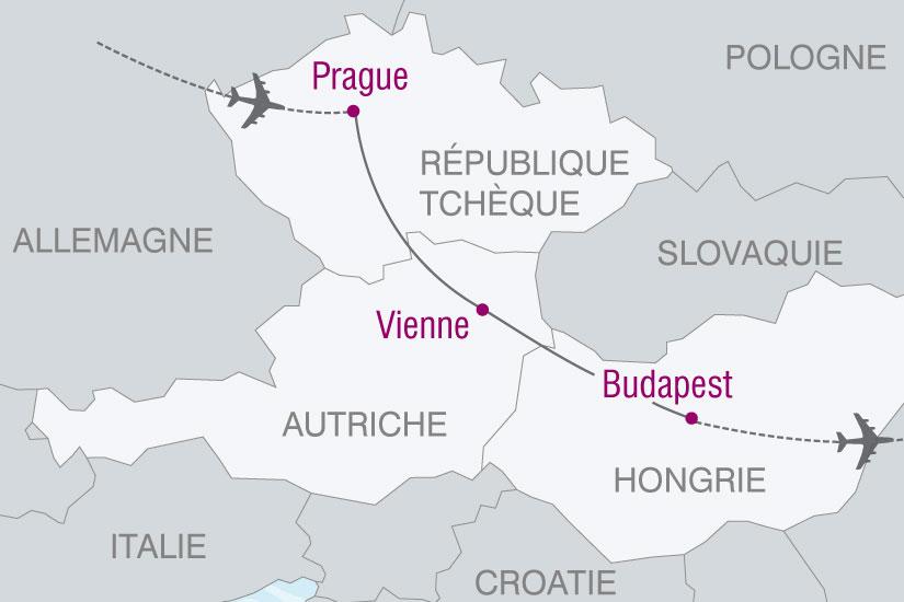 Carte Europe Vienne Prague Budapest.Circuit Autriche Hongrie Republique Tcheque Sur Les