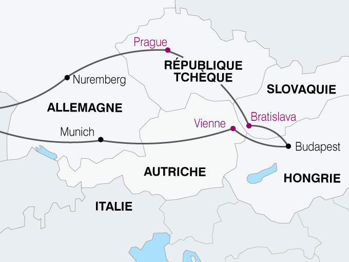 carte Europe Centrale prague brastislava budapest vienne  nthiver 683300
