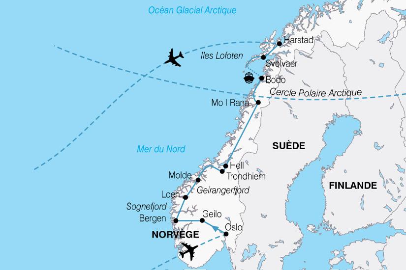 carte Europe Norvege Majestueux Fjords 696990
