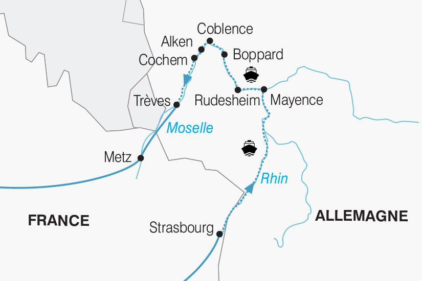 carte France Allemagne Croisiere Rhin et Moselle 2018_267 499558