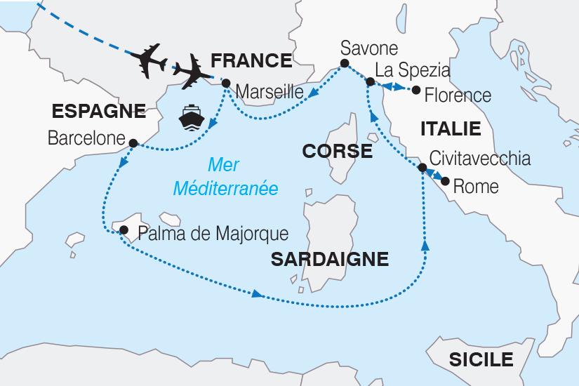 carte France Espagne Italie Croisiere Merveilleuse Mediterranee SH19 20_319 115036