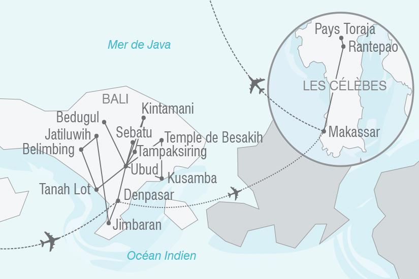carte Indonesie Echappee Indonesienne a Bali et aux Celebes NT19 20_314 640455