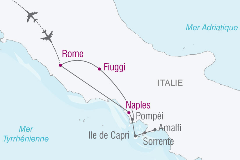 carte Italie Rome Naples Pompei 252873