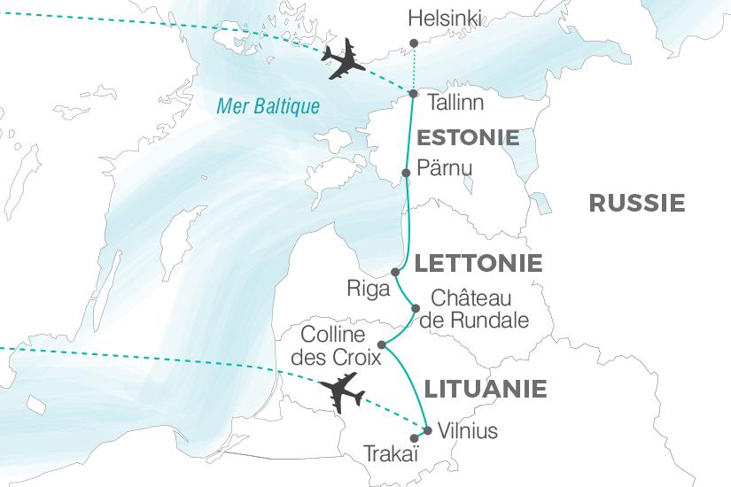 carte Lituanie Lettonie Estonie La Route de l Ambre sens inverse Pouchkine Tours 19_286 173906