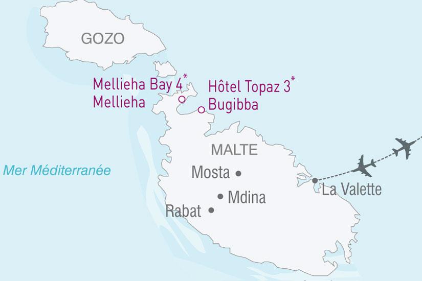 carte Malte Hotel Topaz Mellieha 871281