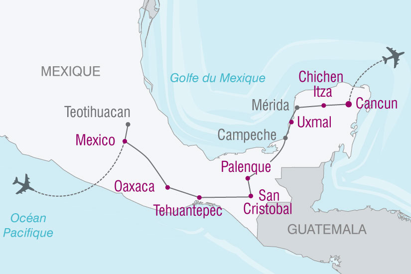 carte Mexique traces mayas 211665