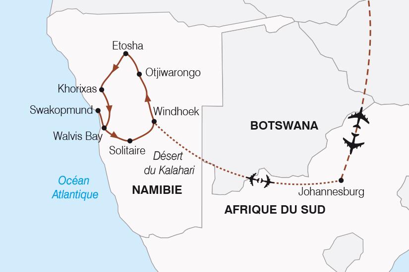 carte Namibie Afrique du Sud Aventure Namibienne SH20_339 467494