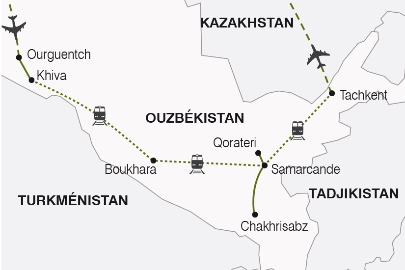 carte Ouzbekistan La Route de la Soie arrivee Ourguentch SH19 20_319 788359
