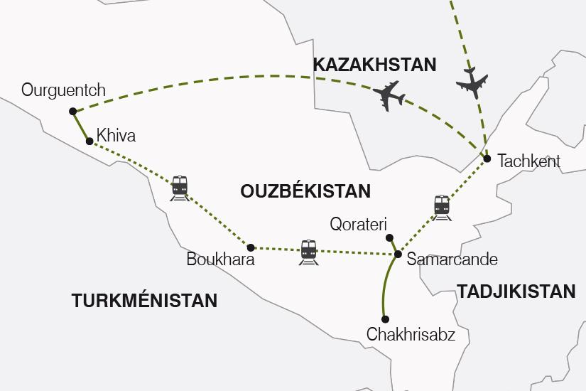 carte Ouzbekistan La Route de la Soie arrivee Tachkent SH19 20_319 188797