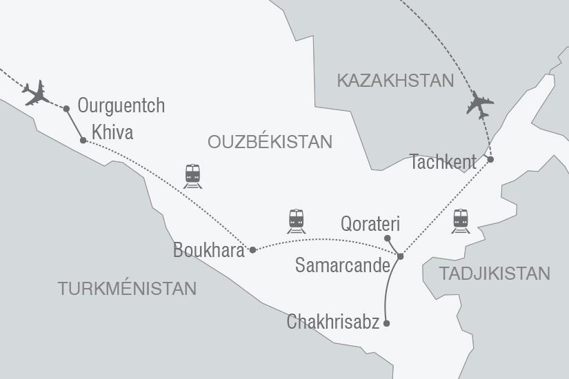 carte Ouzbekistan mythique Route de la Soie arrivee Ourguentch NT19 20_314 464858