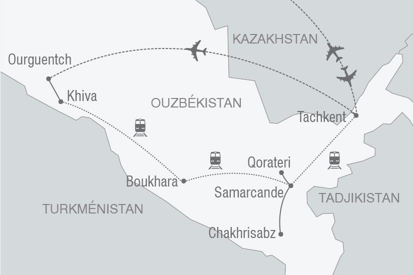 carte Ouzbekistan mythique Route de la Soie arrivee Tachkent NT19 20_314 259301