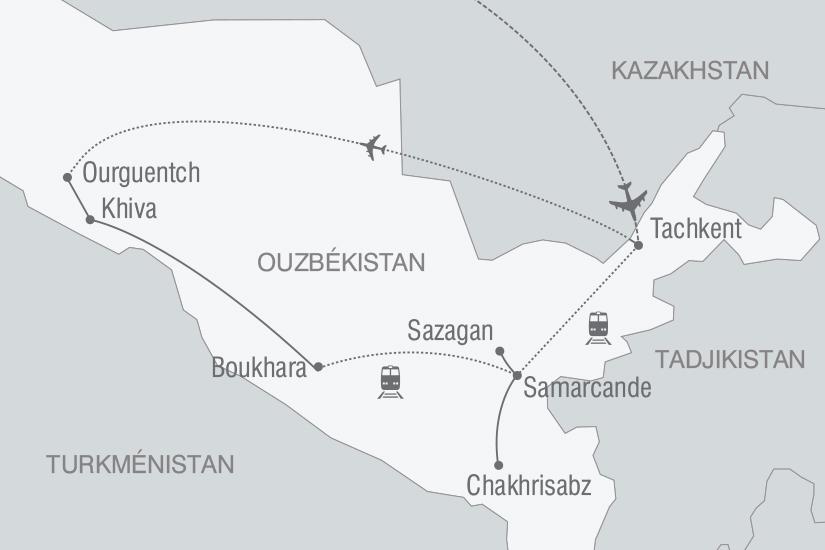carte Ouzbekistan mythique Route de la Soie arrivee Tachkent nt 2019_293 130496