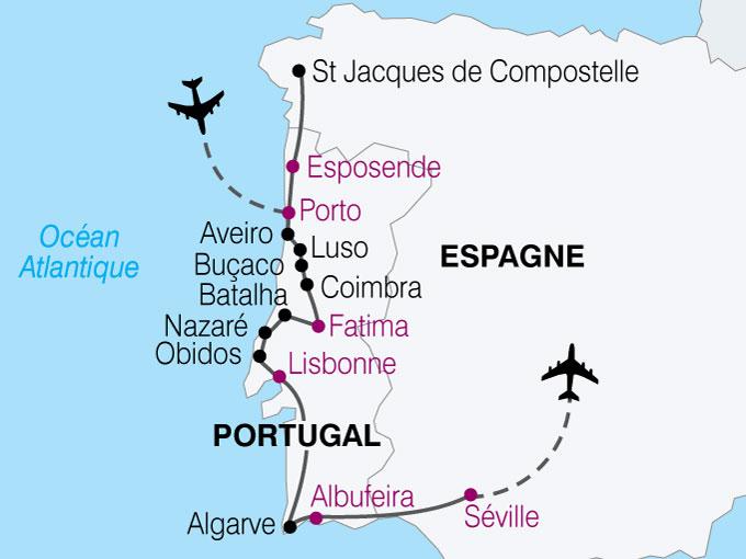 carte Portugal espagne porto seville  nthiver 871784