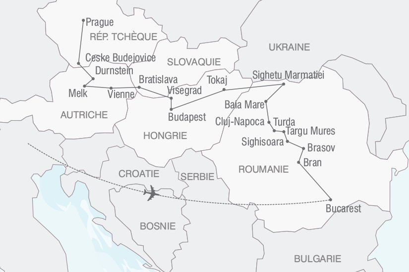 carte Roumanie Hongrie Periple a travers l Europe Centrale nt 2019_293 106570