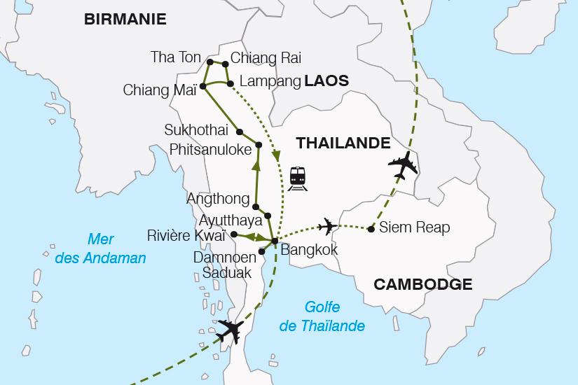 carte Thailande Cambodge du Siam aux Temples d Angkor SH19 20_319 569230