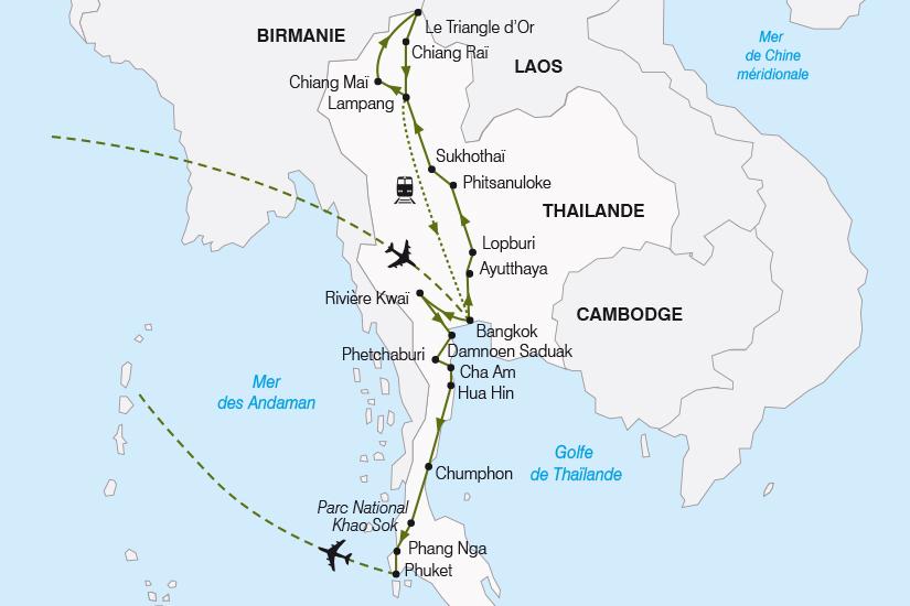 carte Thailande La Thailande du Nord au Sud SH19 20_319 591020
