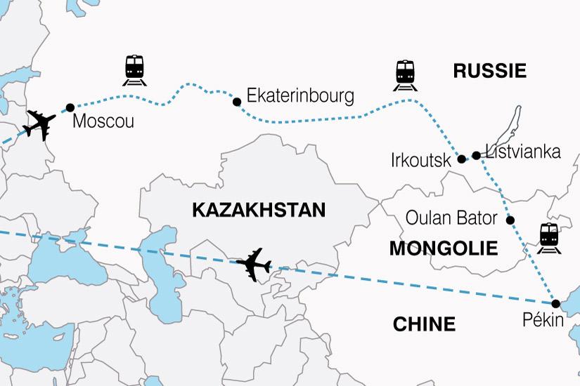 carte Transsiberien Russie Mongolie Chine 578459