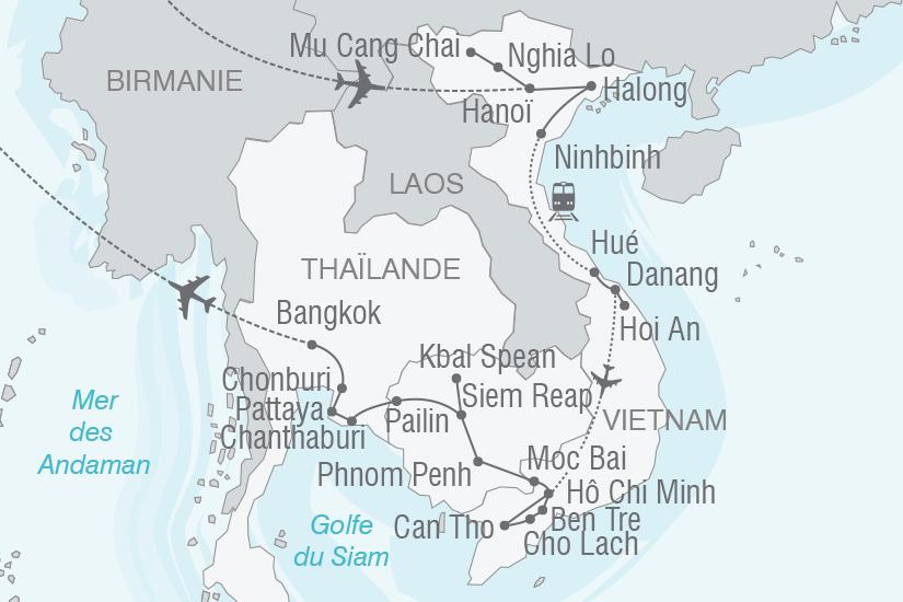 carte Vietnam Cambodge Thailande Splendeurs d Indochine NT20_341 312413