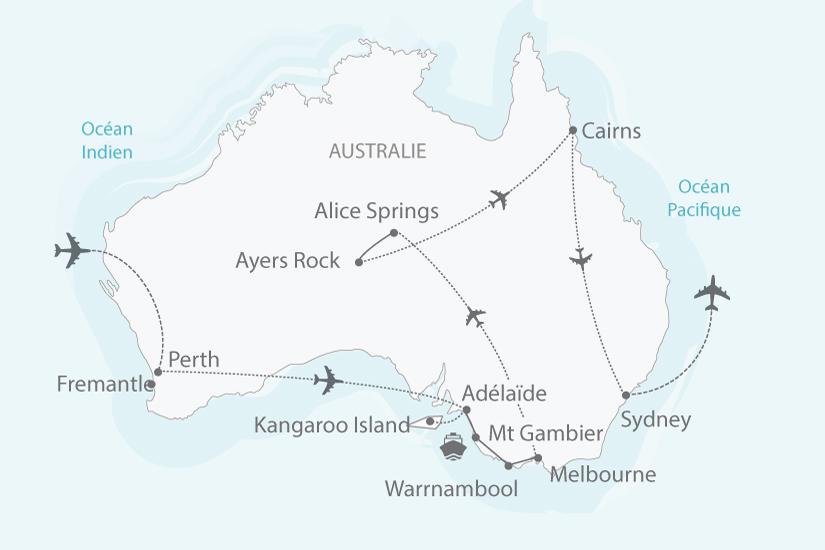 Carte Australie Pacifique.Australie Circuit Le Pays Continent Du Bout Du Monde