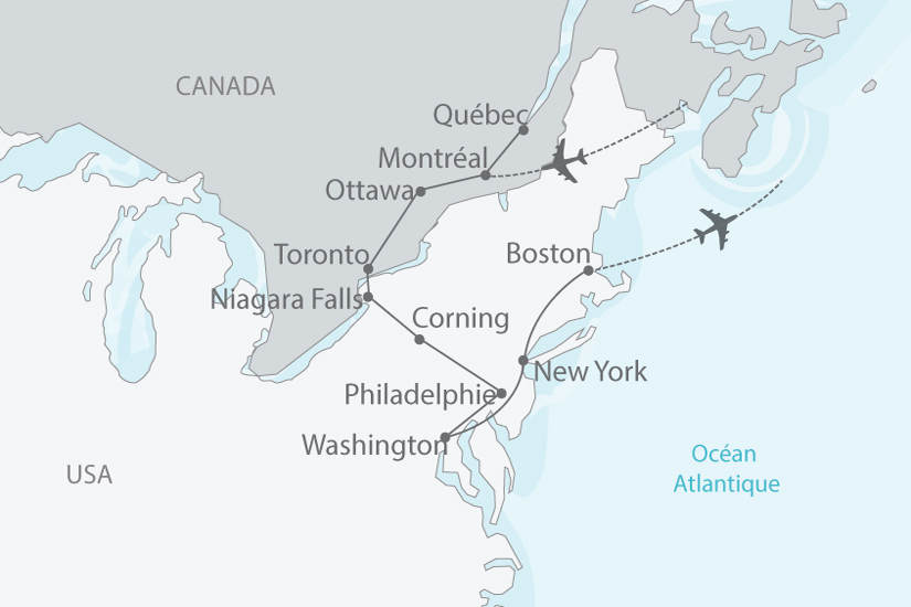 Carte Canada Boston.Le Canada Et Les Capitales De L Est Americain