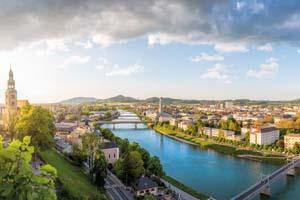 vignette Autriche salzbourg vue panoramique ville salzbourg riviere salzach soiree 96 as_110014451