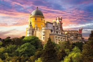 portugal sintra panorama palais fairy palace contre ciel coucher soleil 69 fo_53734524