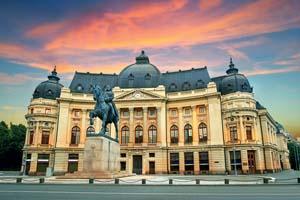 vignette Roumanie bucarest coucher soleil calea victoriei bibliotheque nationale 66 fo_113330730