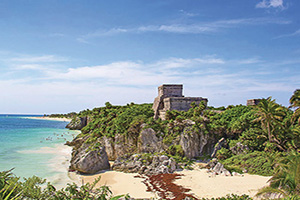 mexique tulum ruines de la fortresse maya er temple pres tulum  fo
